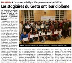2016111- - La Montagne - Remise diplome GRETA - Lycée