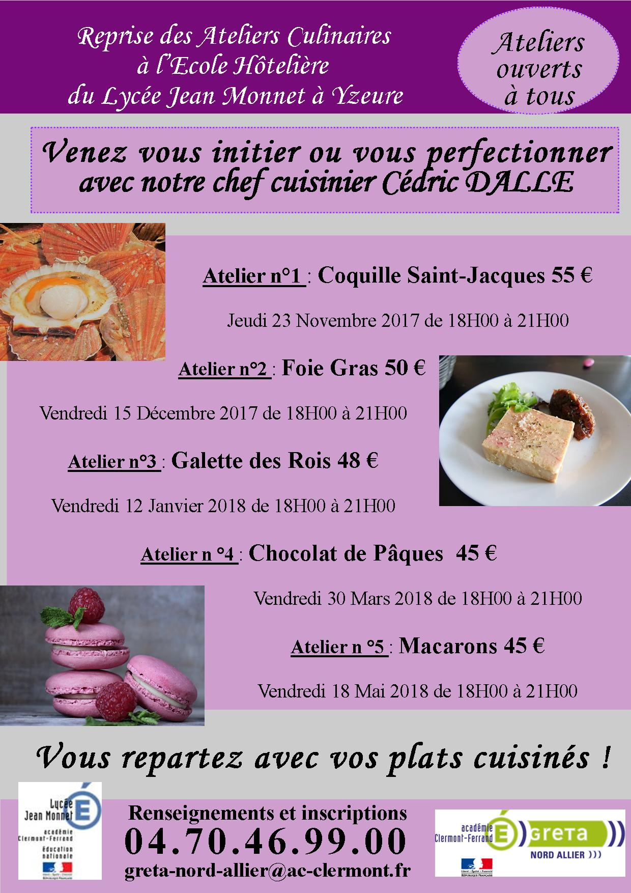 affiche ateliers culinaires 2017-2018